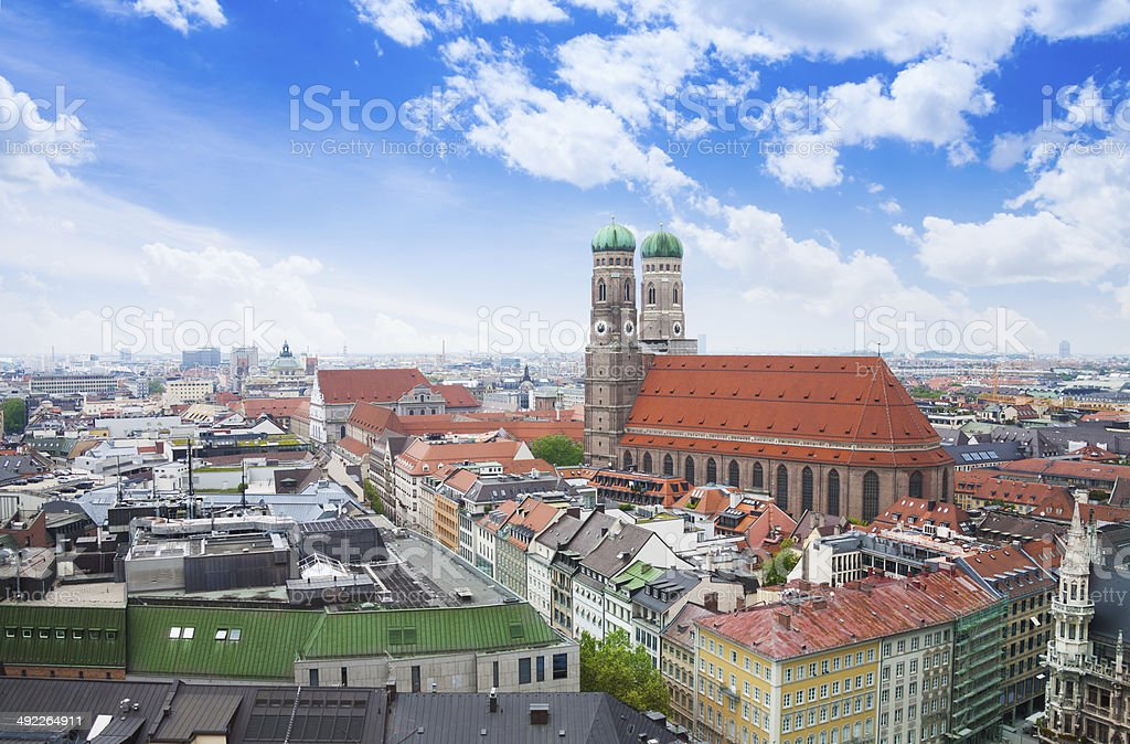 City view with sky, red roofs in Munich stock photo