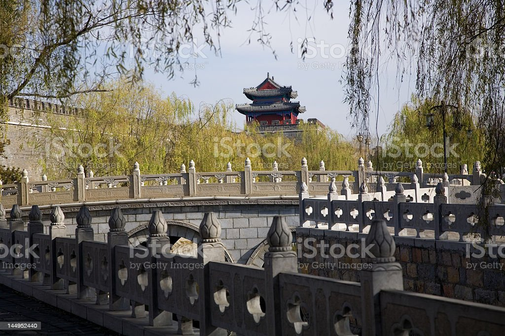 City Wall and Tower, Qufu, Shandong Province, China stock photo