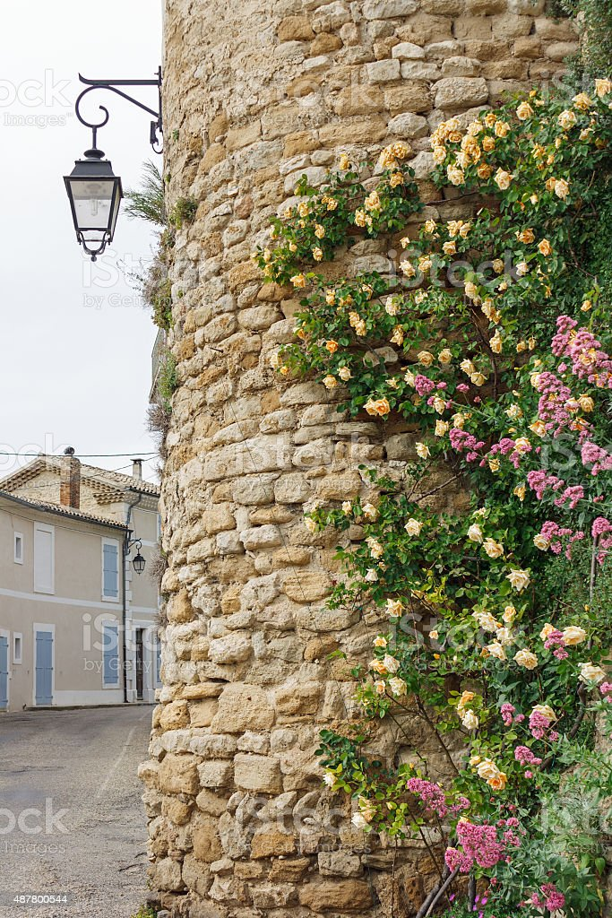 City wall of Grignan in Southern France: Tower with roses stock photo
