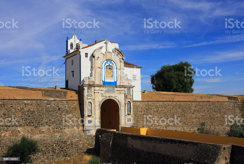City wall of historical Elvas. UNESCO World Heritage site. stock photo