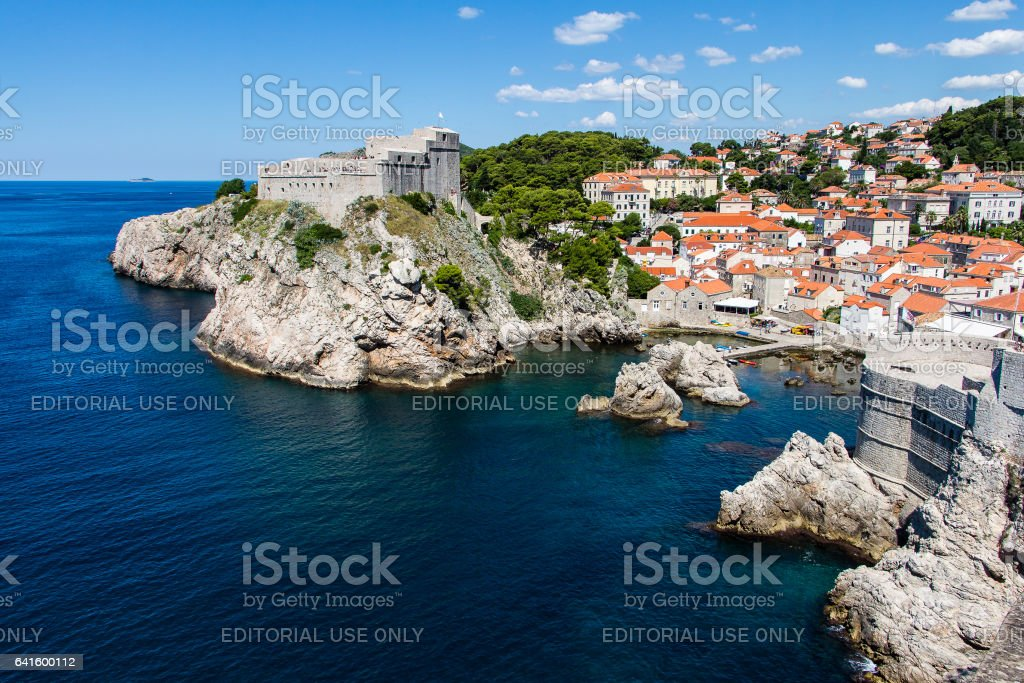 City walls and Fort Lovrijenac at Dubrovnik's Old Town, Croatia stock photo