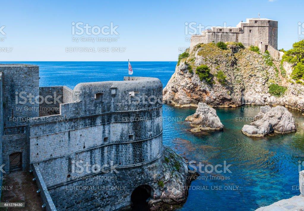 City walls and Fort Lovrijenac in Dubrovnik, Croatia stock photo