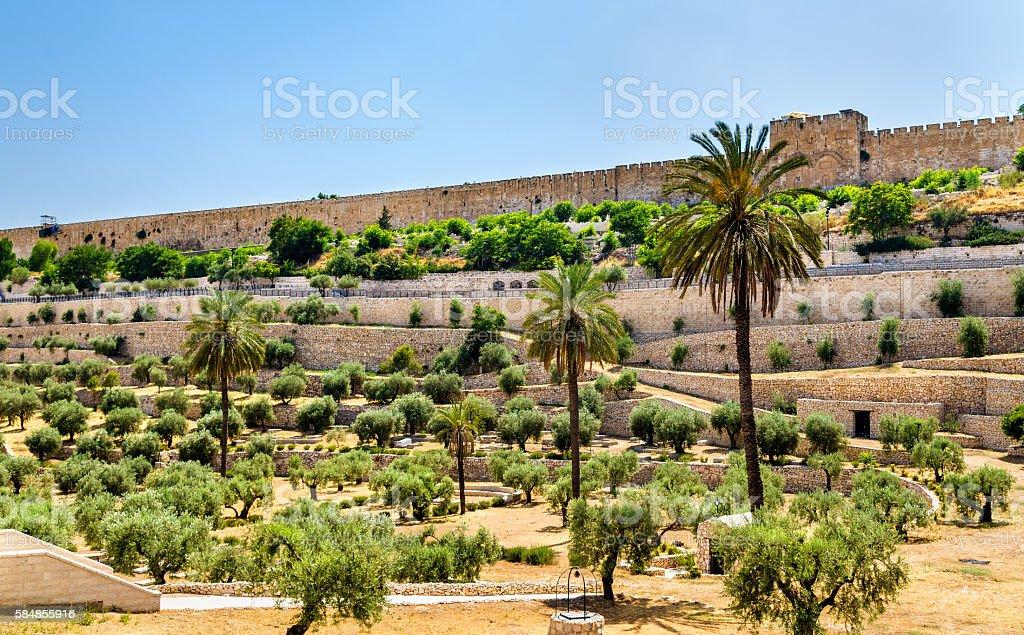City Walls of Jerusalem above the Kidron Valley stock photo