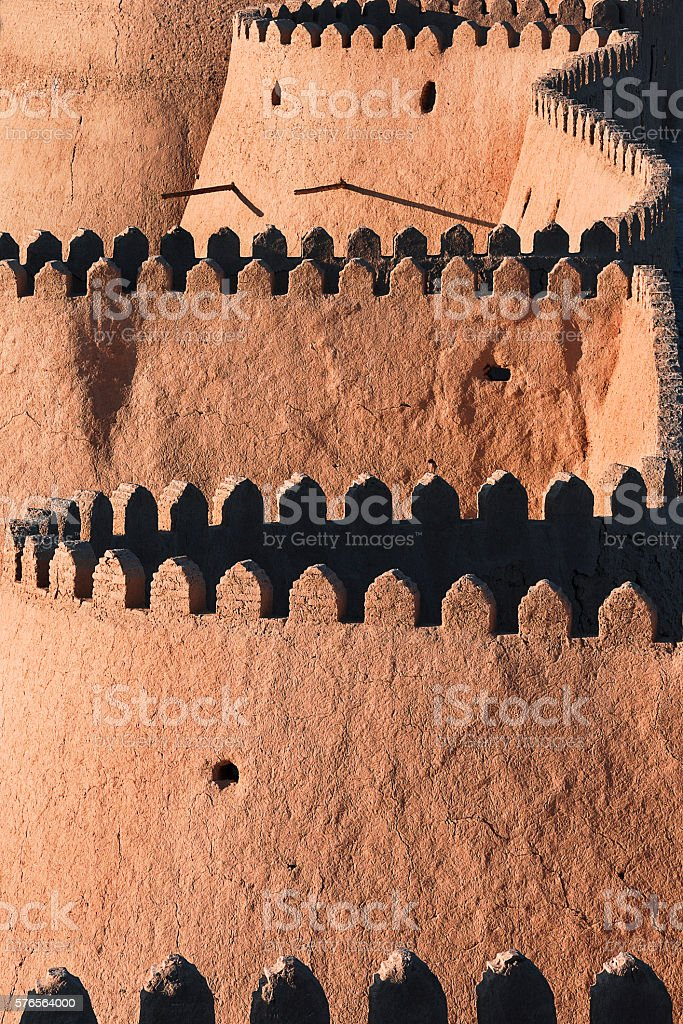 Fortification walls of the ancient city of Khiva in Uzbekistan.
