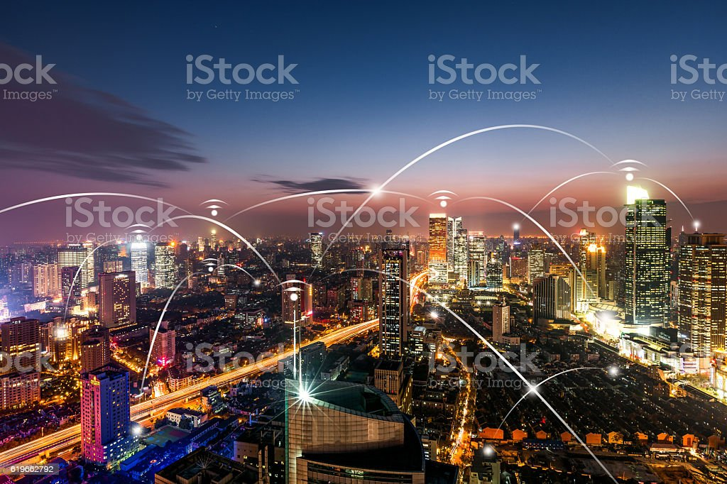 city wifi network connection concept stock photo