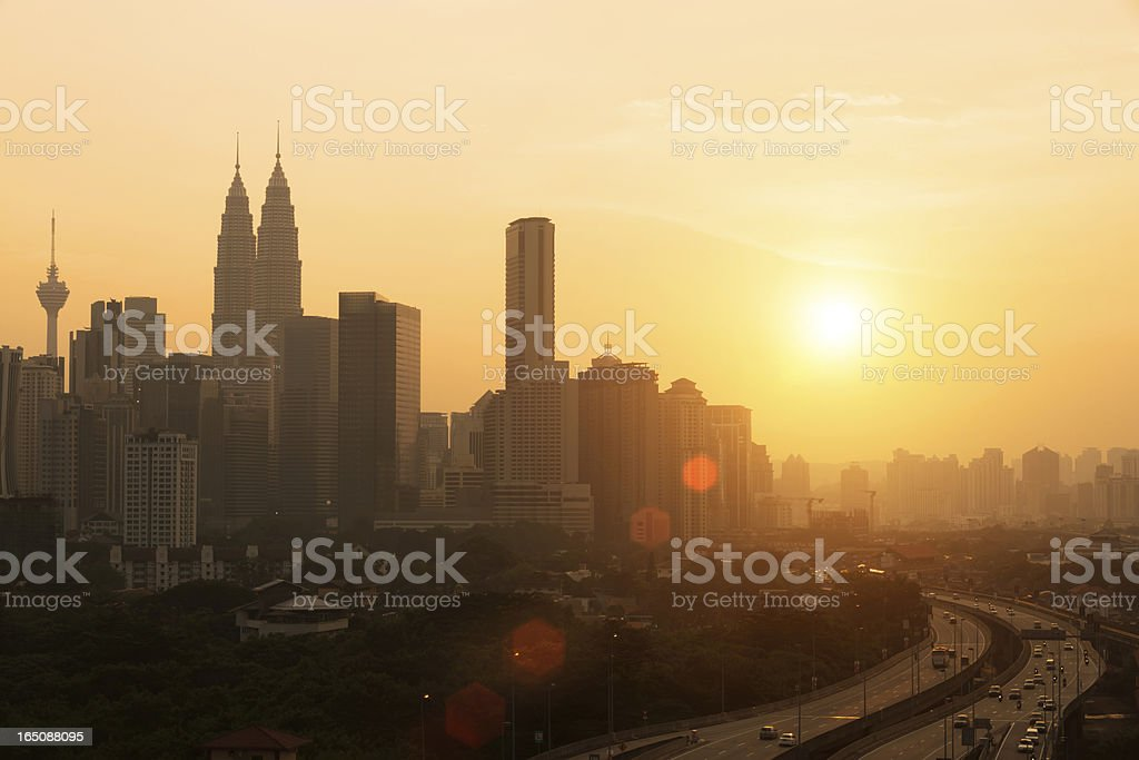 city with sunset royalty-free stock photo