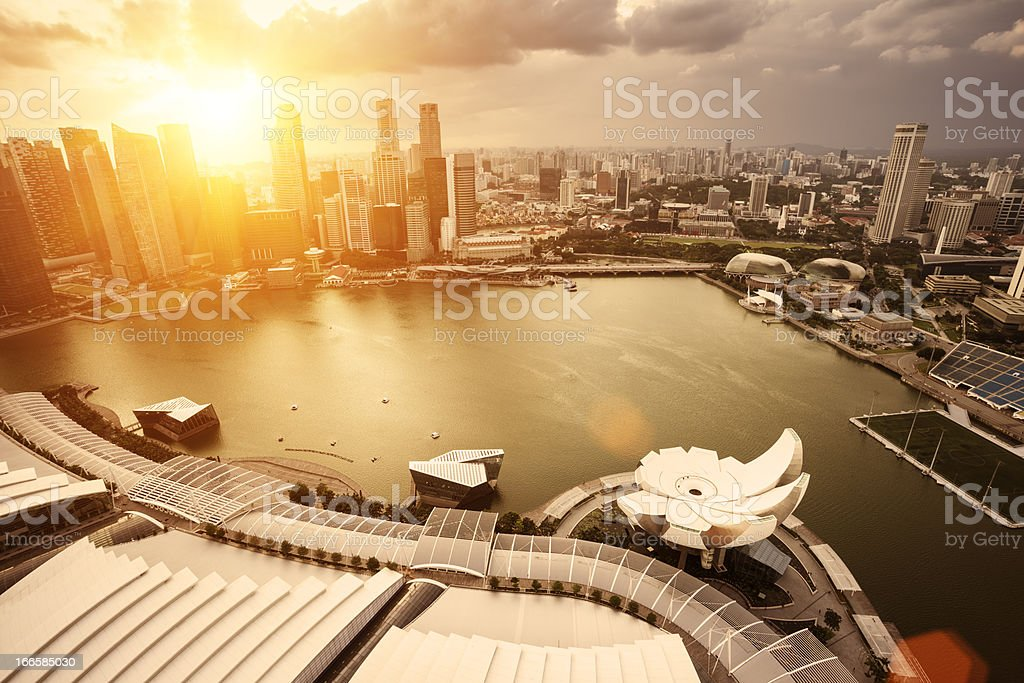 city with sunset stock photo