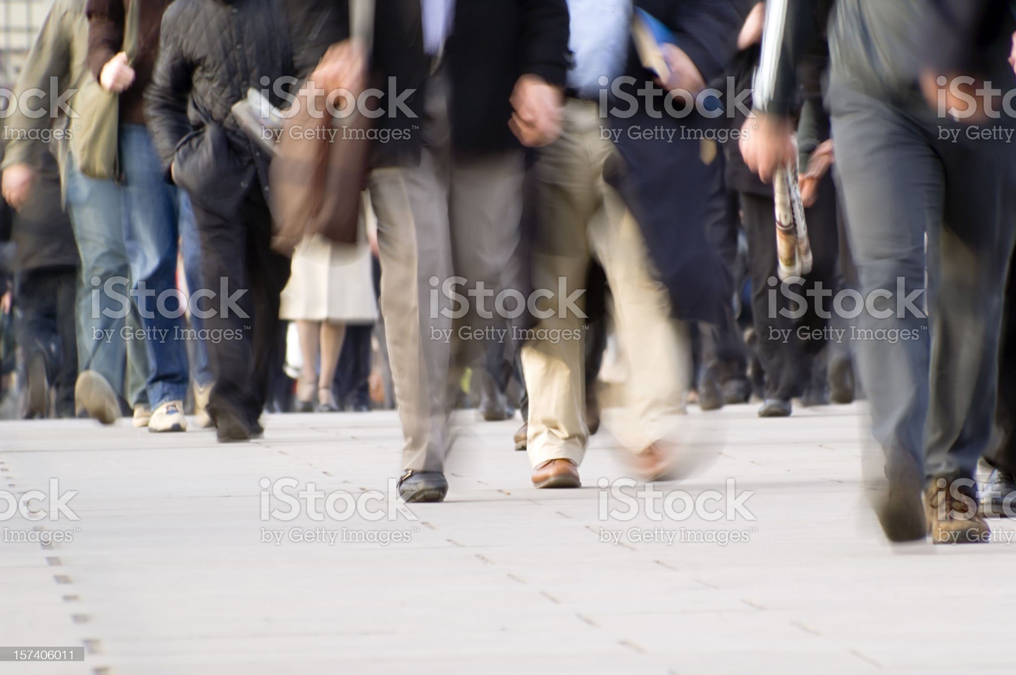 City workers commuters walking with movement blur royalty-free stock photo