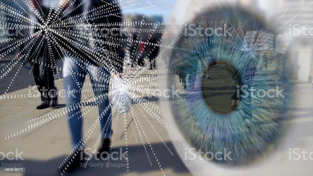 City Workers Digital surveillance montage. stock photo