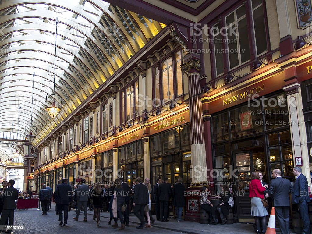 City workers drinking outside Leadenhall market pub stock photo