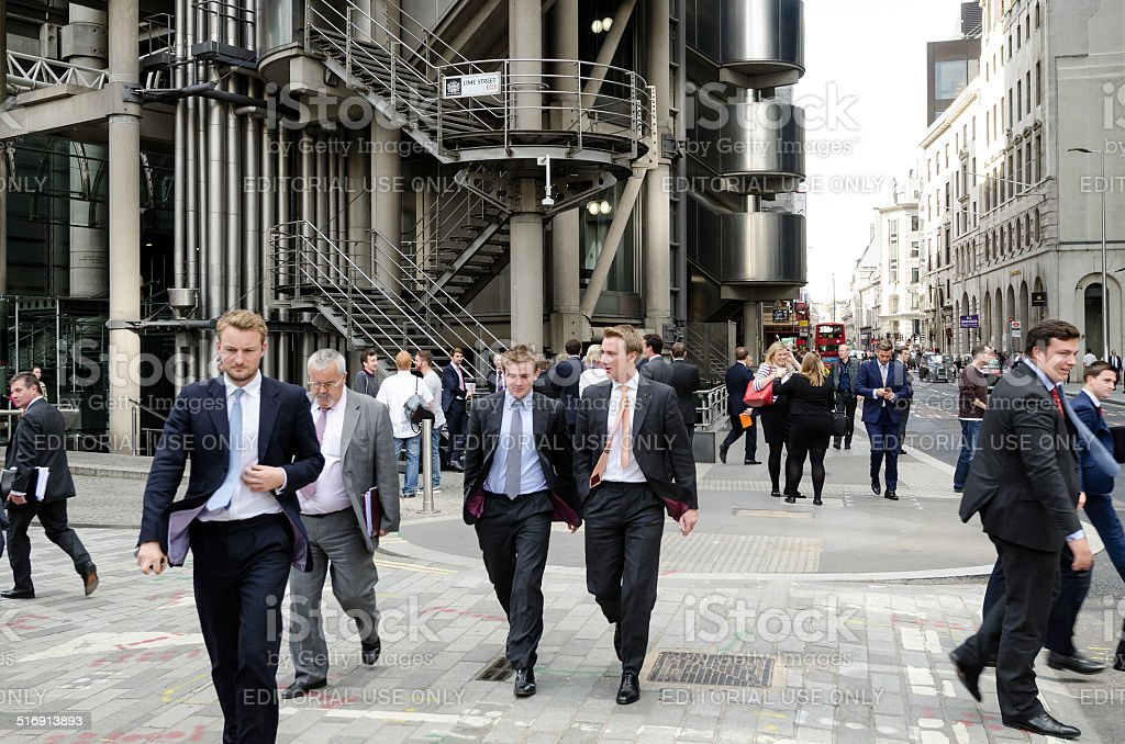 City workers in front of Lloyds central London stock photo