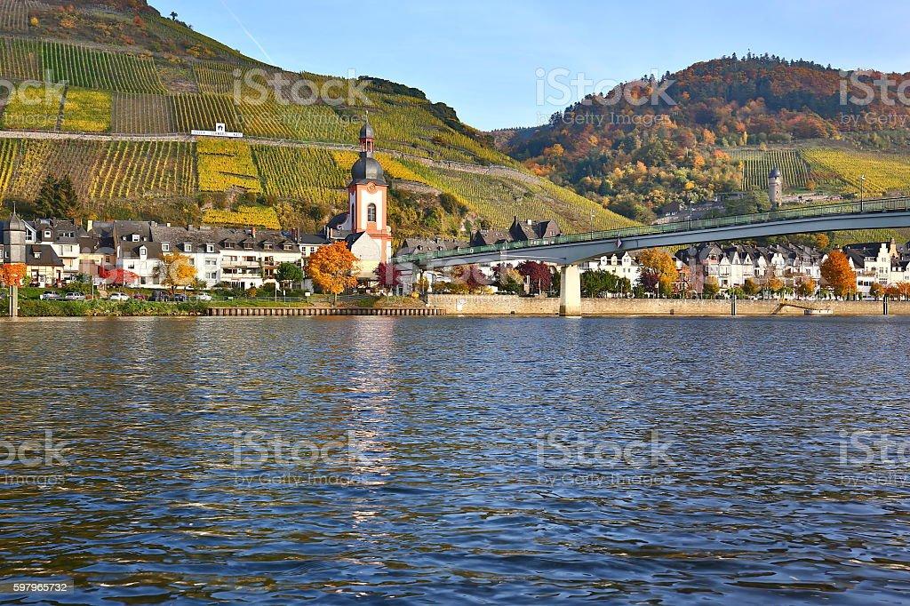 City Zell alongside river Moselle stock photo