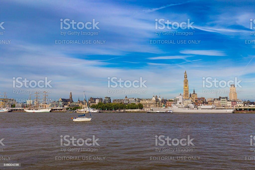 ANTWERP, BELGIUM - 9 JULY 2016: Cityline of Antwerp stock photo