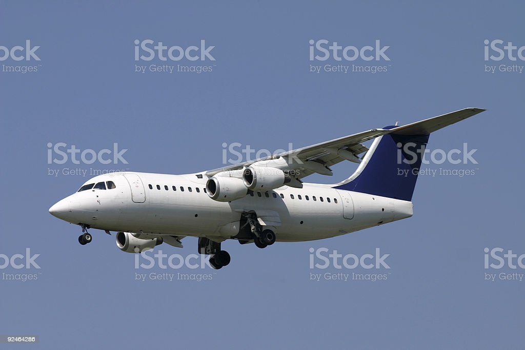 Cityliner airplane approaching runway royalty-free stock photo