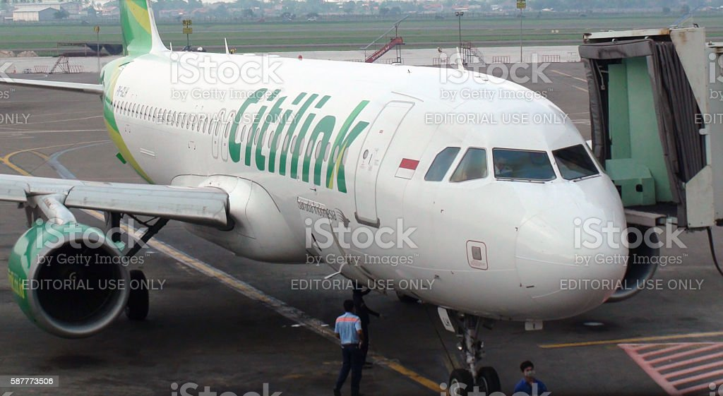 Citylink Airplane Parked At Loading Gate Of Jakarta Airport.Indonesia stock photo