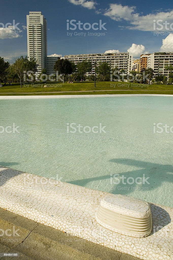 Citypark with pool of water royalty-free stock photo