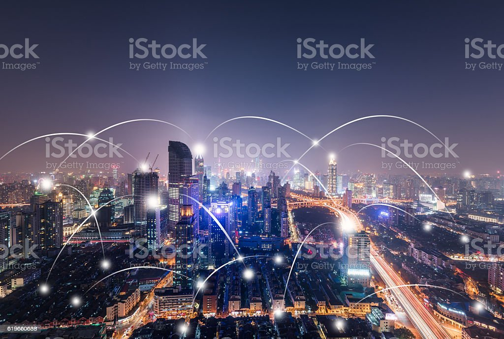 citys network connection concept stock photo