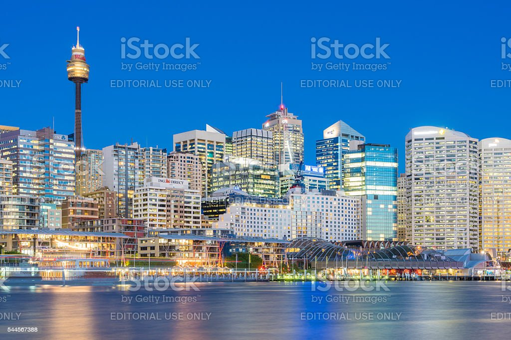 Cityscape and Darling Harbour in Sydney at twilight stock photo
