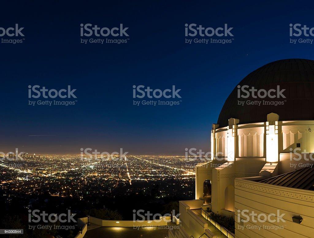 LA cityscape and observatory stock photo