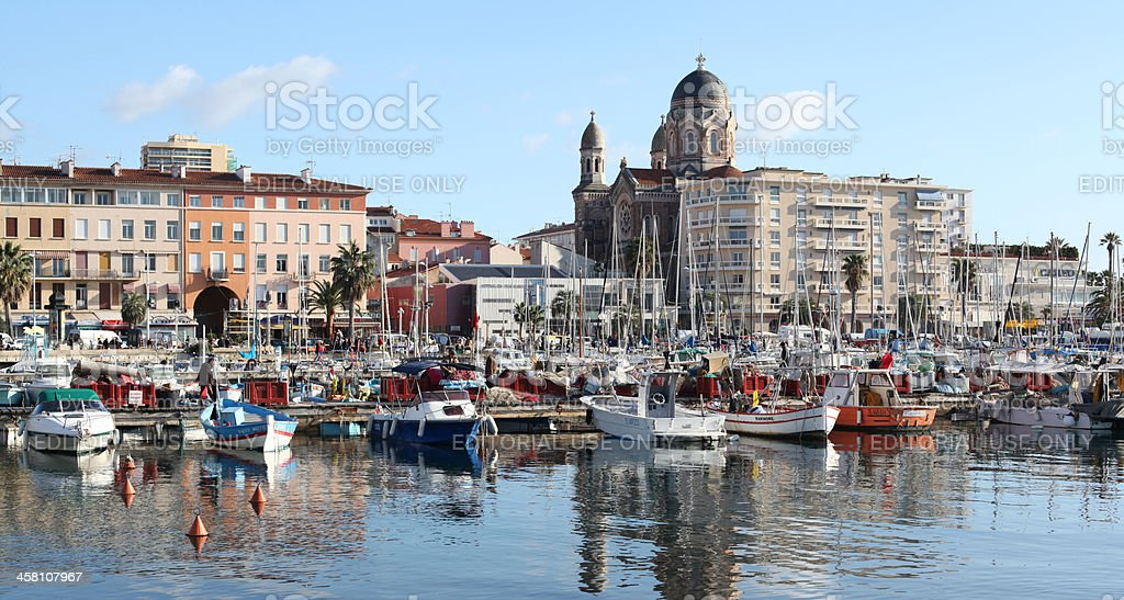 Cityscape and Port of Saint-Raphaël, Nice. Cote d'Azur. France royalty-free stock photo