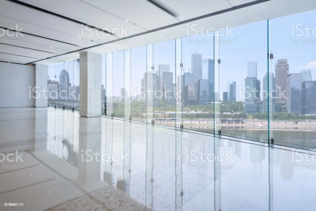 cityscape and skyline of chongqing from glass window stock photo