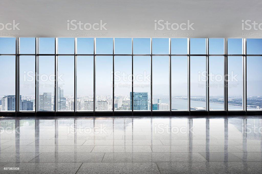 cityscape and skyline of hangzhou new city from window stock photo