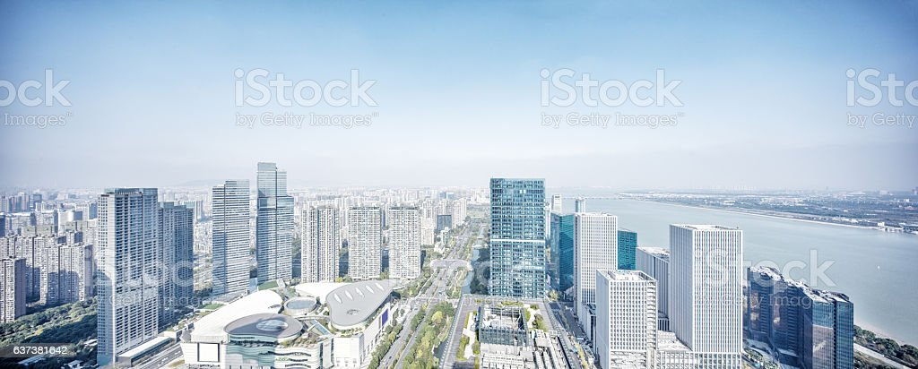 cityscape and skyline of hangzhou new city stock photo