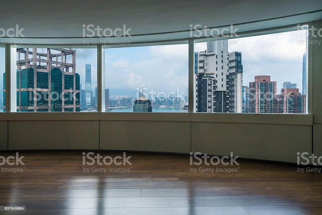 view Hong Kong victoria harbour through glass window,China,Asia.