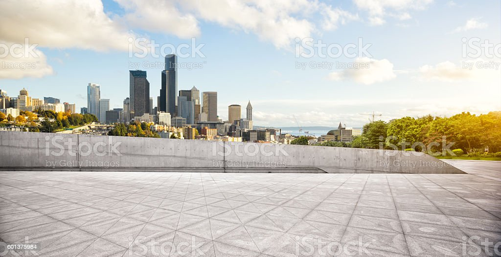 cityscape and skyline of los angeles from empty brick floor stock photo