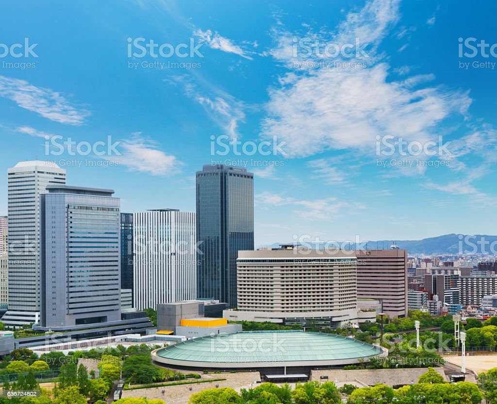 Cityscape and Skyline of Osaka city in Japan stock photo
