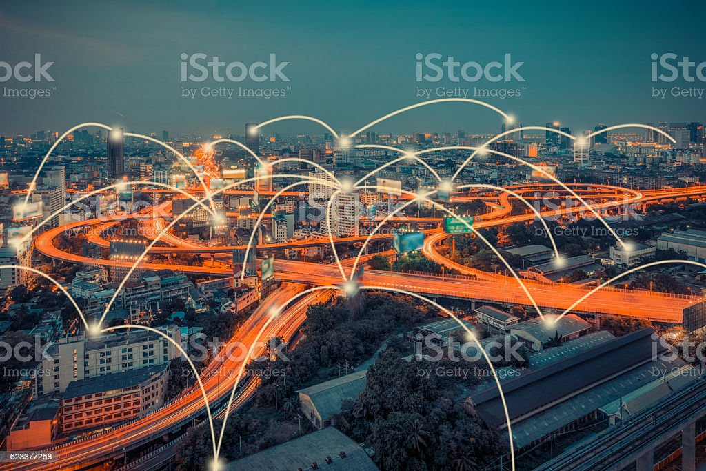 cityscape and technology and network connection concept stock photo