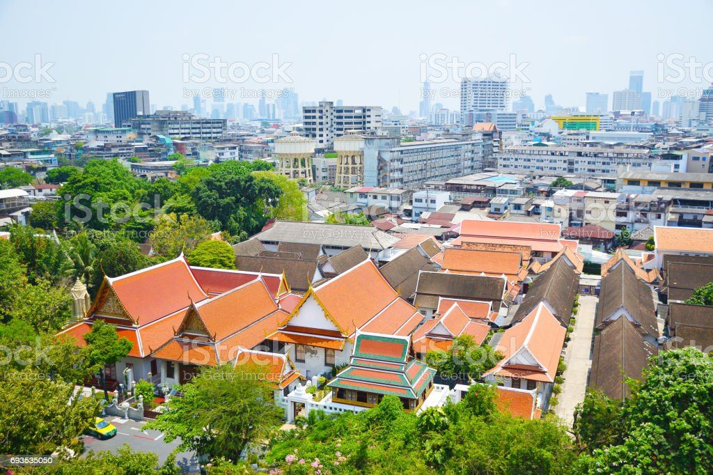 Cityscape and temple area in Bangkok of Thailand stock photo