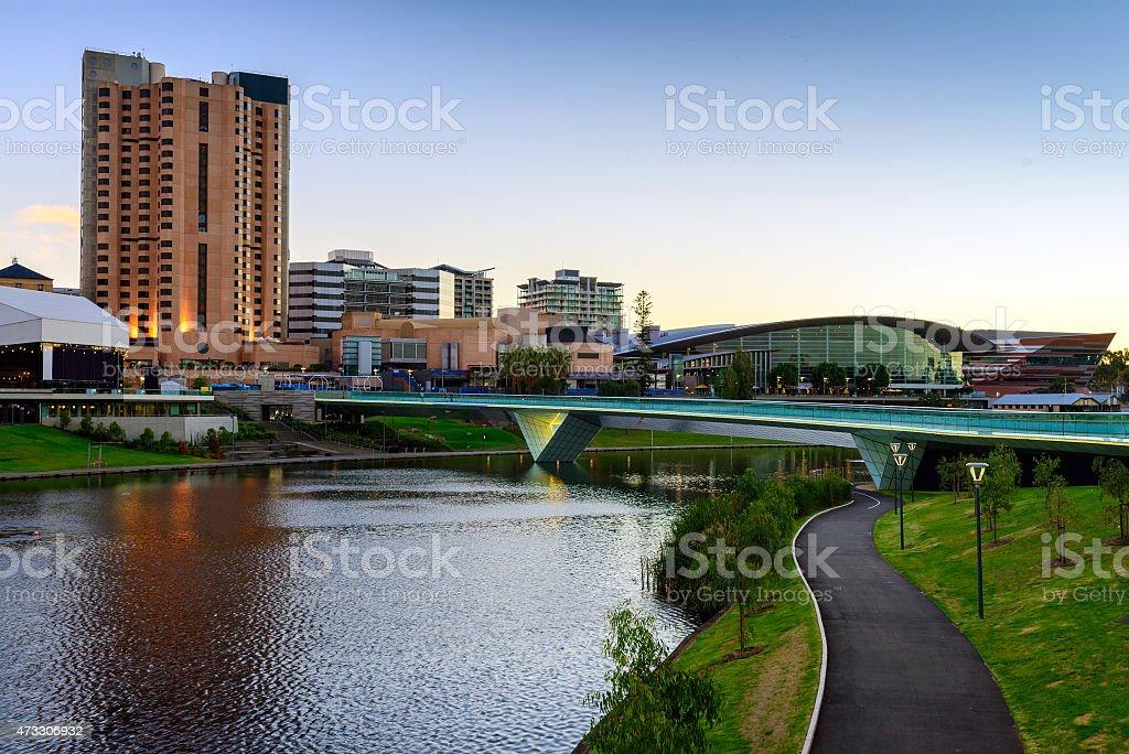 Cityscape and the bridge in Adelaide Australia stock photo