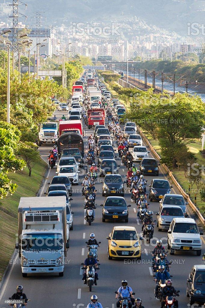 Cityscape and traffic on the road in Poblado district, Medellin stock photo