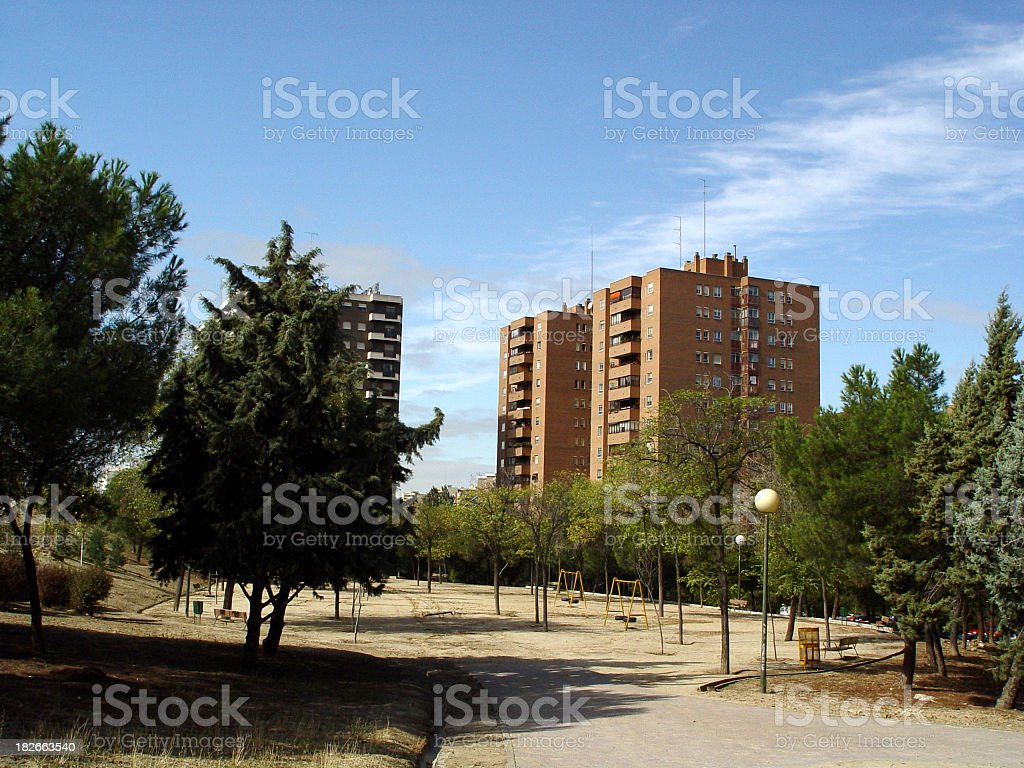 Cityscape - Apartments & Park royalty-free stock photo