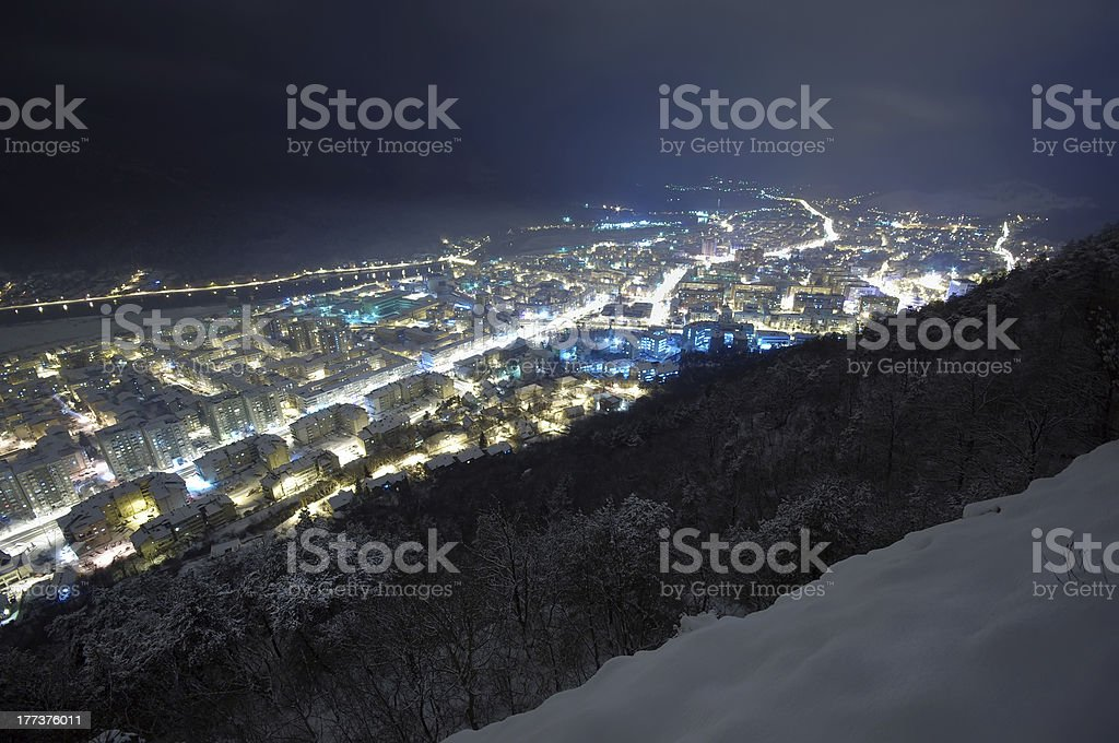 Cityscape at a winter night stock photo