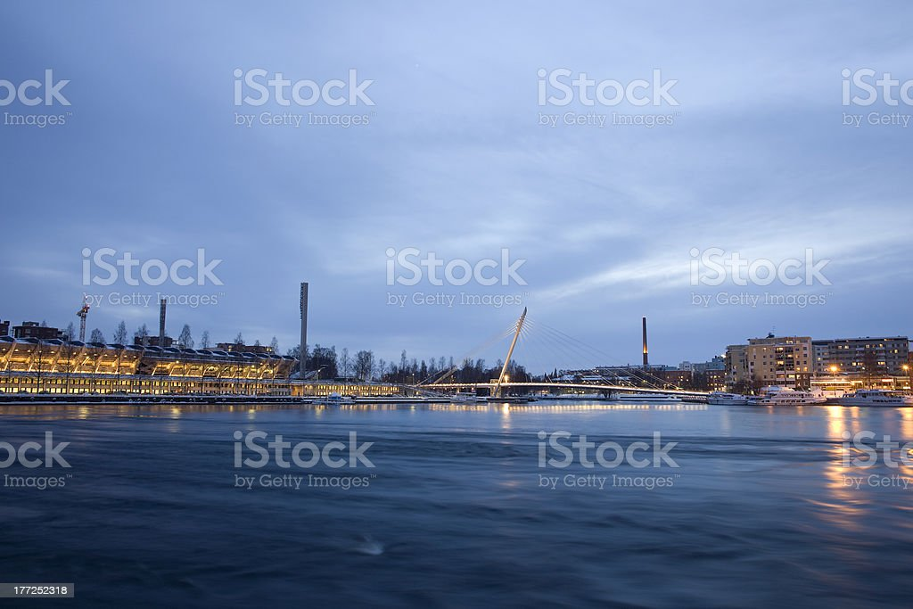 cityscape at night in winter royalty-free stock photo
