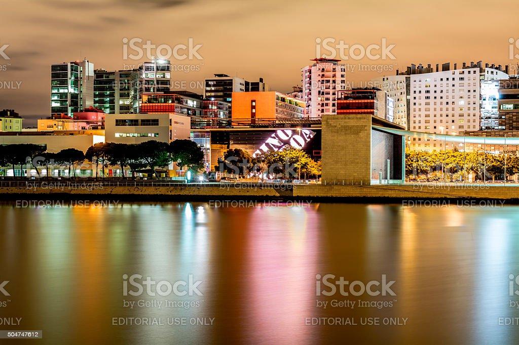 Cityscape at Night, Lisbon, Portugal stock photo