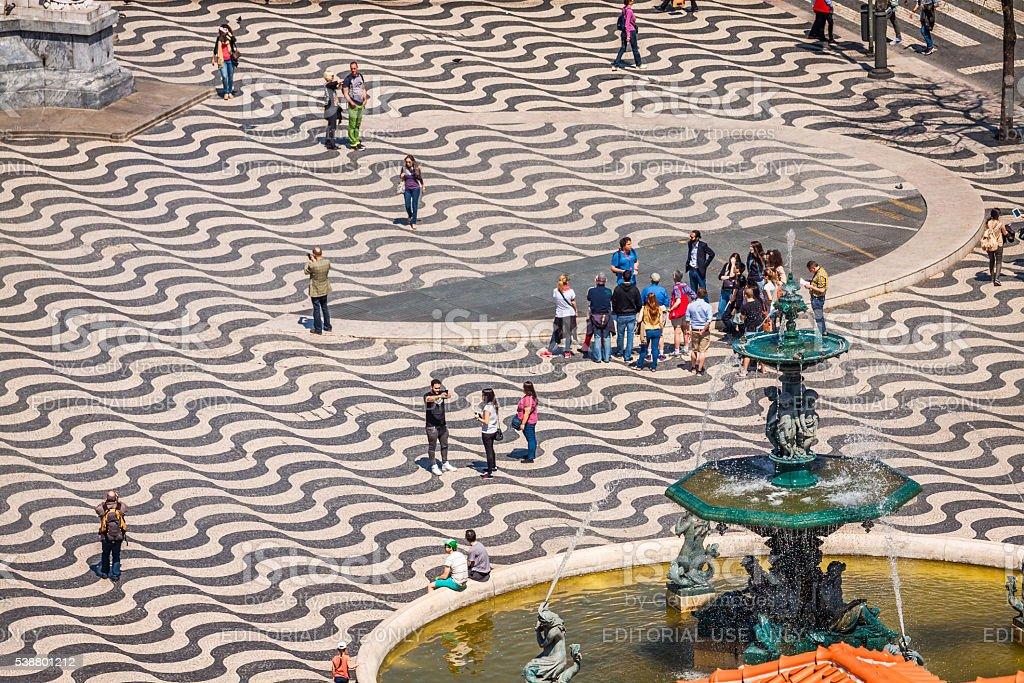 cityscape at Rossio Square. stock photo