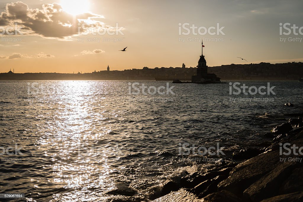 Cityscape at sunset in Istanbul, Turkey stock photo