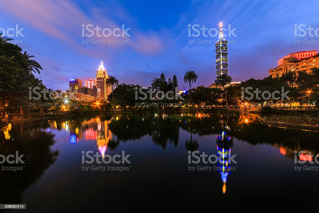 Cityscape at Taipei 101 in Sun Yat Sen Memorial Hall. stock photo