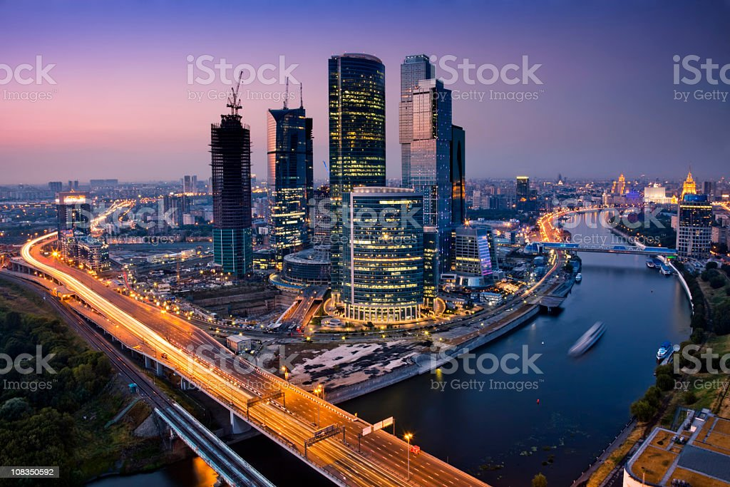 Cityscape at twilight. Bird's eye view stock photo