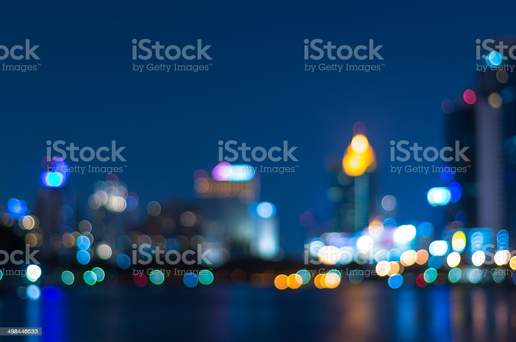 Cityscape background river side, Blurred Photo bokeh stock photo