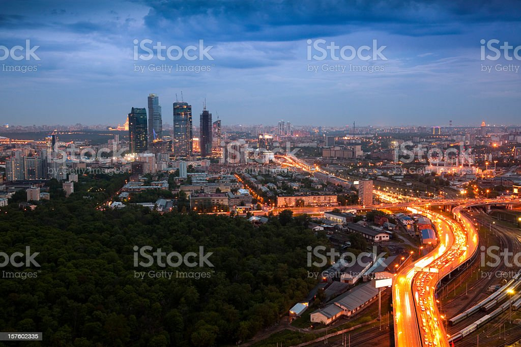 Cityscape before storm. Bird's eye view royalty-free stock photo