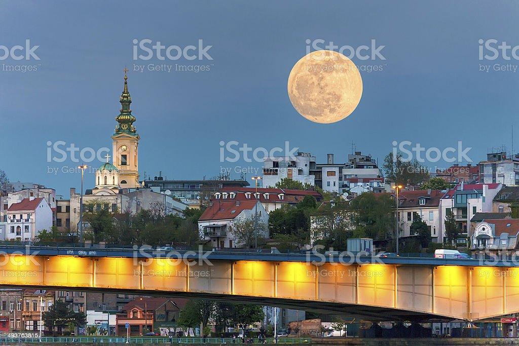 Cityscape - Belgrade in night of full moon stock photo