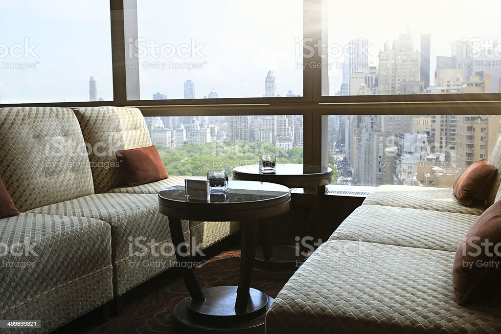 Cityscape from an Hotel Lounge, NYC. stock photo