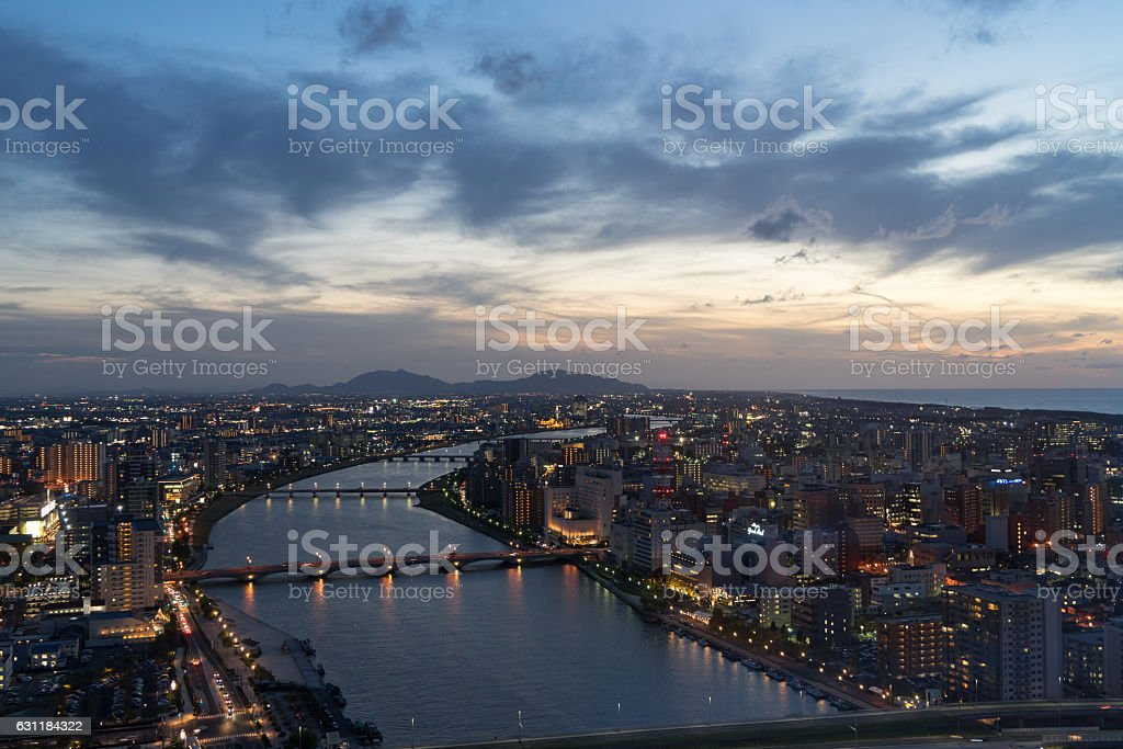 Cityscape from Bandai city observatory, Niigata, Japan. 3 stock photo