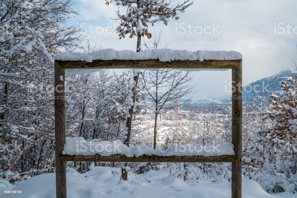 Cityscape from forrest during winter stock photo
