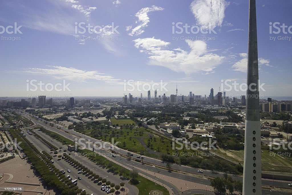 Cityscape from Kuwait Towers stock photo