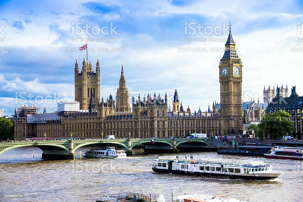 Cityscape from London Eye with houses of Parliament.  London, UK stock photo